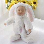 Móc khoá bé thỏ bông lông xù nhân tạo baby doll pompom