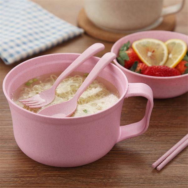 Tô ăn mì lúa mạch không chứa chất BPA đầy đủ nắp đũa muỗng nĩa