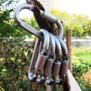 Móc Khóa Nhôm Đa Năng Đi Phượt Carabiner Chữ D Khoá Xoay 8cm