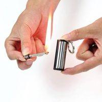 Hộp quẹt thép đá lửa magnesium tròn dùng xăng có thể sử dụng 10000 lần