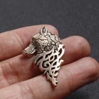 Trâm ghim cài áo đầu sói vàng đồng cao cấp cho nam nữ công sở Brooches