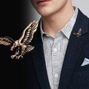 Trâm ghim cài áo Đại bàng vàng đồng cao cấp cho nam nữ công sở Brooches