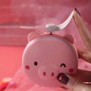 Quạt kèm gương và đèn led 3 trong 1 hình thú siêu dễ thương pin sạc